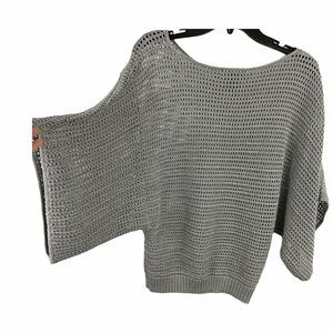 INC International gray crochet Sweater wide arms